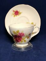 Vintage Duchess England Bone China Rose Tea Cup and Saucer Set With Stand