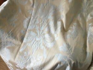 Laura Ashley Duck egg blue Damask on beige golden background, 90 x 91 inches