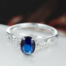 Exquisite Love Design Blue Stone Ring Silver Color Zircon Crystal Rings Women