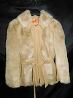 Vintage 70s M Brown Faux Fur Coat Belted Knit Trim Full Zip Disco Rockabilly