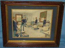 ANTIQUE WALNUT TREE BARK FRAME w/LITHOGRAPH CASTAIGNE 1892 'RECRUIT INSPECTION'