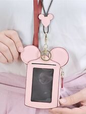 Cute Mickey Mouse Shape Card Holder Wallet Purse Neck New Bag for Women PINK