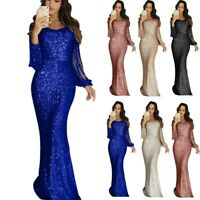 Womens Sexy Party Maxi Dress V Neck Long Sleeve Bodycon Ball Gown Tassel Dresses
