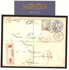 MS1433 1894 GB DEVON Registered*Millbay Plymouth* Jubilee Cover BELGIUM *R*Label