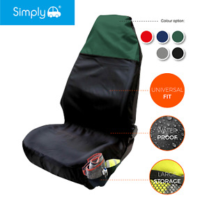 Heavy Duty Black/Green Front Single Seat Cover Protector Universal Waterproof