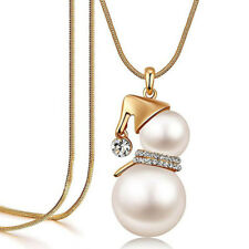 Cute Snowman Pendant Long Necklace Women Simulated Pearl Jewelry Christmas Gifts