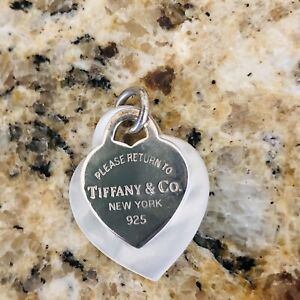 Tiffany & Co Please Return To Tiffany 925 Silver & Mother of Pearl Heart Pendant