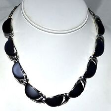Vintage Lisner Black Thermoset Lucite Half Moon Shaped Choker Necklace