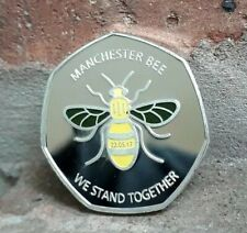 MANCHESTER BEE COIN SOUVENIR WE STAND TOGETHER coloured / KEW GARDENS 50P UK