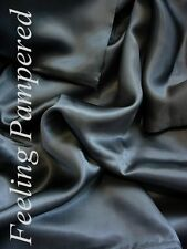 New Luxurious 100% silk charmeuse Fitted Bottom sheet King Dark Gray Deep Pocket