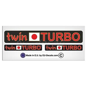 Set Twin Turbo japan flag Red/Gold letters Laminated Decal Sticker JDM
