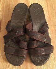 Crocs Women's Brown Strappy Wedge Sandals Slides Size 11