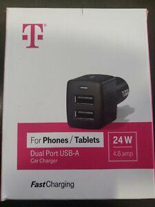 T-Mobile Accessories 24-Watt/4.8-Amp Dual USB Port Car Charger - Black