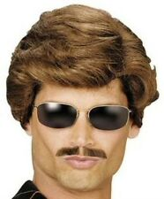 New Car Salesman Magnum Brown Wig Adult Male Fancy Dress 1980s 80s