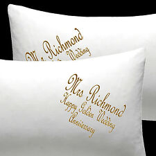 Personalised EMBROIDERED pillow cases Wedding gift Golden Wedding Anniversary