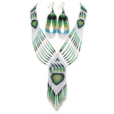 WHITE GREEN BEADED NATIVE STYLE NECKLACE EARRINGS SET BEAR PAW S38/12