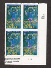 SCOTT # B-3 Stop Family Violence United States Stamps MNH - Plate Block of 4