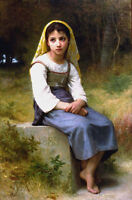 Dream-art Oil painting Bouguereau Young Girl Seated Meditation in forest view