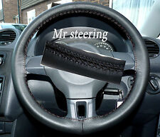 FITS VW GOLF MK6 TOP ITALIAN BLACK LEATHER STEERING WHEEL COVER NEW 2008-2012