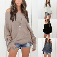 Oversized Womens Off Shoulder Knitted Sweatshirt Baggy Sweater Jumper Top Blouse