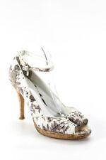 Karen Millen Womens Floral Cork Peep Toe Ankle Strap Pumps White Size 38.5 8.5