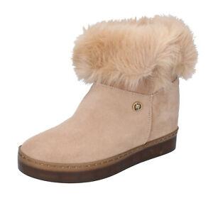 Women's Shoes LIU JO 41 Eu Booties Beige Suede Fur BJ713-41