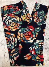 Lularoe TC Leggings Roses Roses! Bigger Brighter Navy W/ Multi Disney