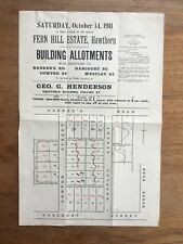 "1911 ""FERN HILL ESTATE"" HAWTHORN AUCTION NOTICE POSTER BARKERS RD BURKE RD F154"