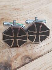 Knights Templar  Black Maltese Cross Cufflinks Masonic Handmade in England
