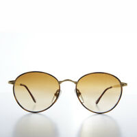 Gold Round Vintage Sunglass with Brown Gradient Lens - Keylah