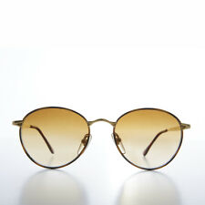 Gold Round Vintage Sunglass with Brown Gradient Lens- Keylah