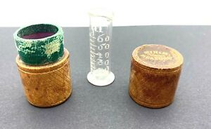 Antique Apothecary Glass Measure in Leather case circa 1900