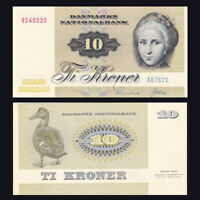 Denmark 10 Kroner, 1972-1978, P-48, banknotes, UNC