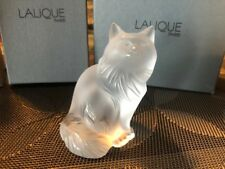LALIQUE FRANCE Heggie Cat Frost Clear Figurine Box Papers Mint Kitten Vintage