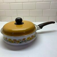 Enamel Steel and Cast Iron Cookware Fry Pan with Lid Made in Japan