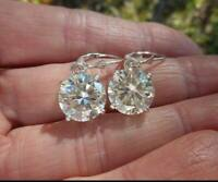 4Ct Round Cut Moissanite Leverback Drop/Dangle Earrings 14K White Gold Finish