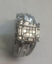10k solid  White Gold Princess / round Genuine DIAMOND  RING  JWBR 0.75 Carat