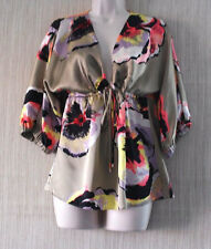 ALICE TRIXIE SILK BEIGE GOLD FLORAL 3/4 SLEEVE WOMEN  V NECK TOP BLOUSE SIZE:XS