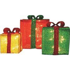 "(4)-Lighted 12"" 10"" 8"" Tinsel 3D Christmas Presents Holiday Display 70095"