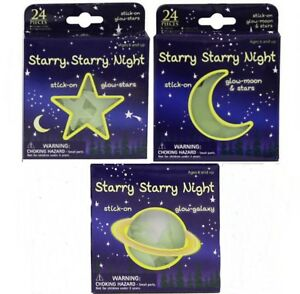 24pc Glow in the Dark Stickers Moon Stars Planets Childs Kids Party Bag Filler