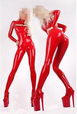 100% Latex Rubber Gummi 0.45mm Catsuit Bodysuit Suit Fashion Red Open Chest
