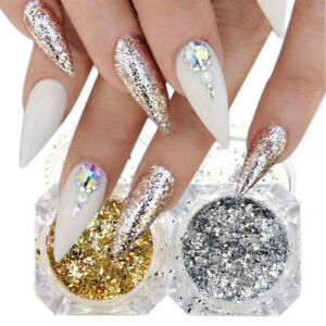 Holographic Nail Glitter Powder Dust Gold Silver Irregular Flakes Foils Sequins