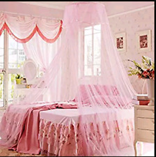 Mosquito Net Queen Size Home Bedding Lace Canopy Elegant Netting Princess Pink