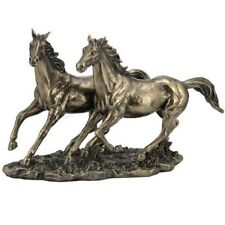 Horses Running Sculpture in Bronze Finish | WU76436A1