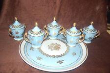 Antique French Porcelain Tray 5 Pot De Cream Cups made for Bonwit Teller - RARE!