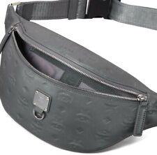 AUTH NWT Mcm Men's Fursten Monogram Embossed Logo Leather Belt Bag In Grey
