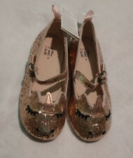 NWT Baby Gap Unicorn Gold Glitter Flats Shoes Toddler Girl