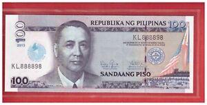 2013 ( 2014 ) PHILIPPINES 100 peso IGLESIA NI CRISTO FANCY No. KL 888898  UNC