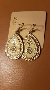 Accessorize cream & gold Jewels Dangle Drop Earrings