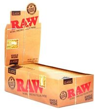 1 x Box Raw Classic Natural Unrefined Rolling Papers ( 50 Booklets in Box )